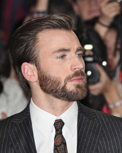 chris evans comb over slicked back haircut