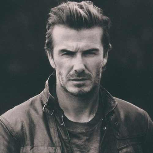 david beckham gentleman look hairstyle sweep back hair