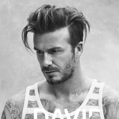david beckham long hairstyle side part fade haircut