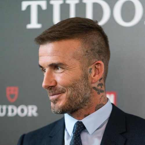 david beckham short haircut with low fade haircut