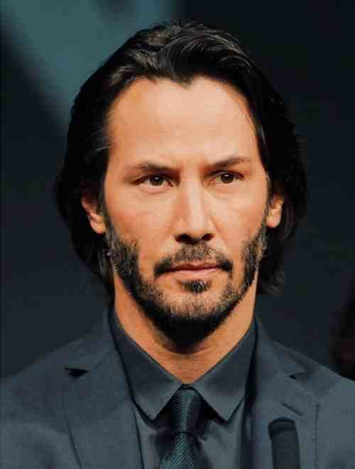 keanu reeves beard and long hairstyle