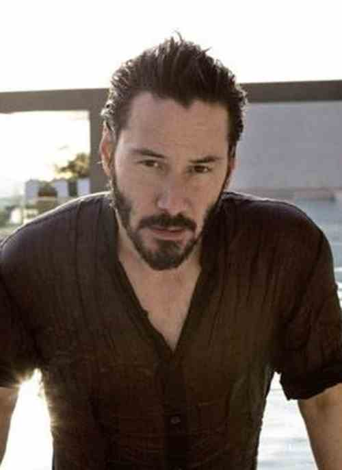 keanu reeves hairstyles sweep back textured hair