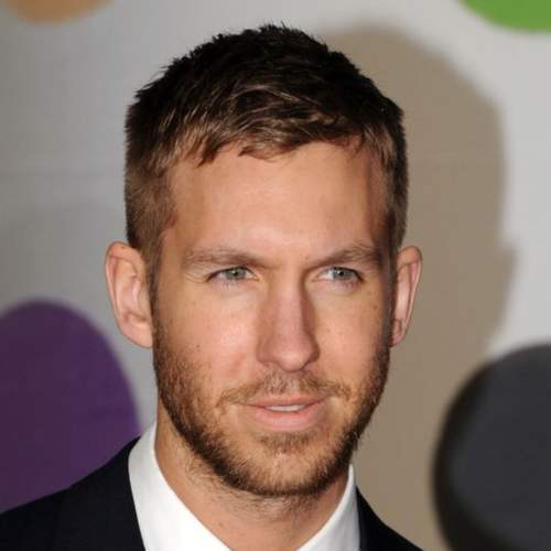 calvin harris short messy hairstyle