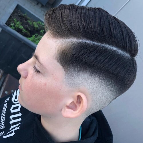 bald fade with line high skin taper fade hairstyle teen boy hairstyle