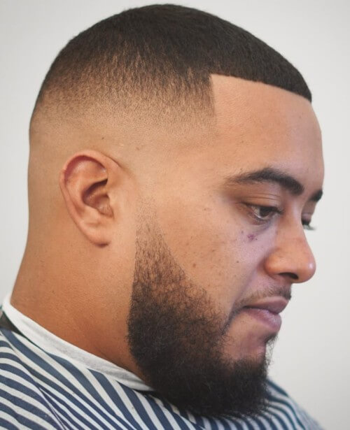 bald fade with part line up fade with beard hairstyle