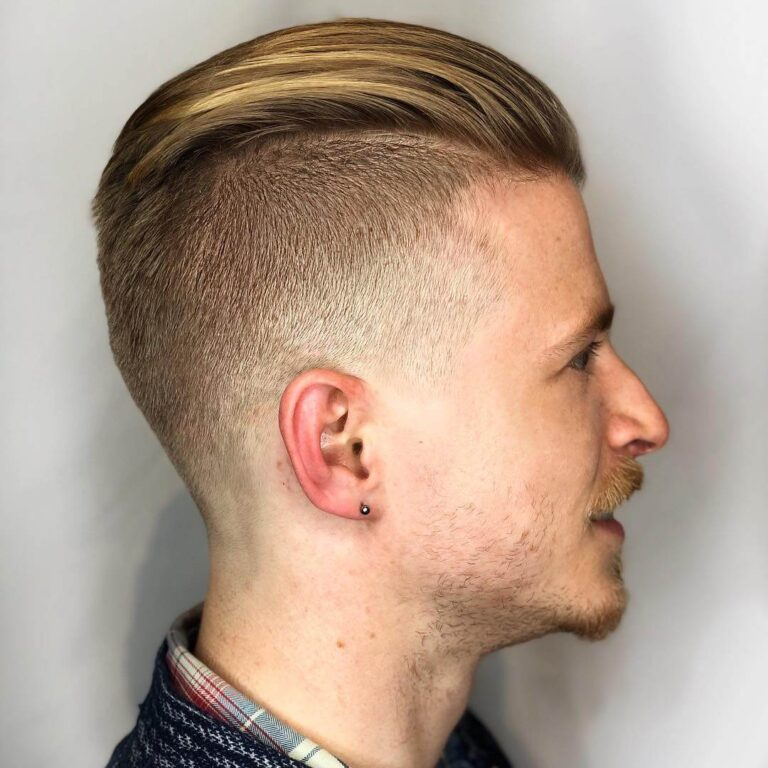 hair.cules undercut fade matte slicked back blonde haircut