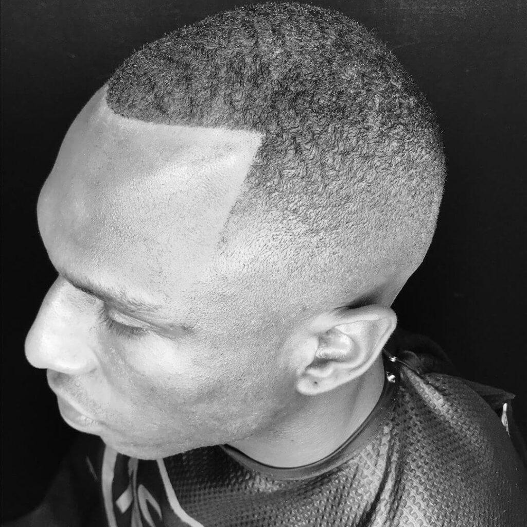 manspaalaska high drop fade on bald fade head short hair