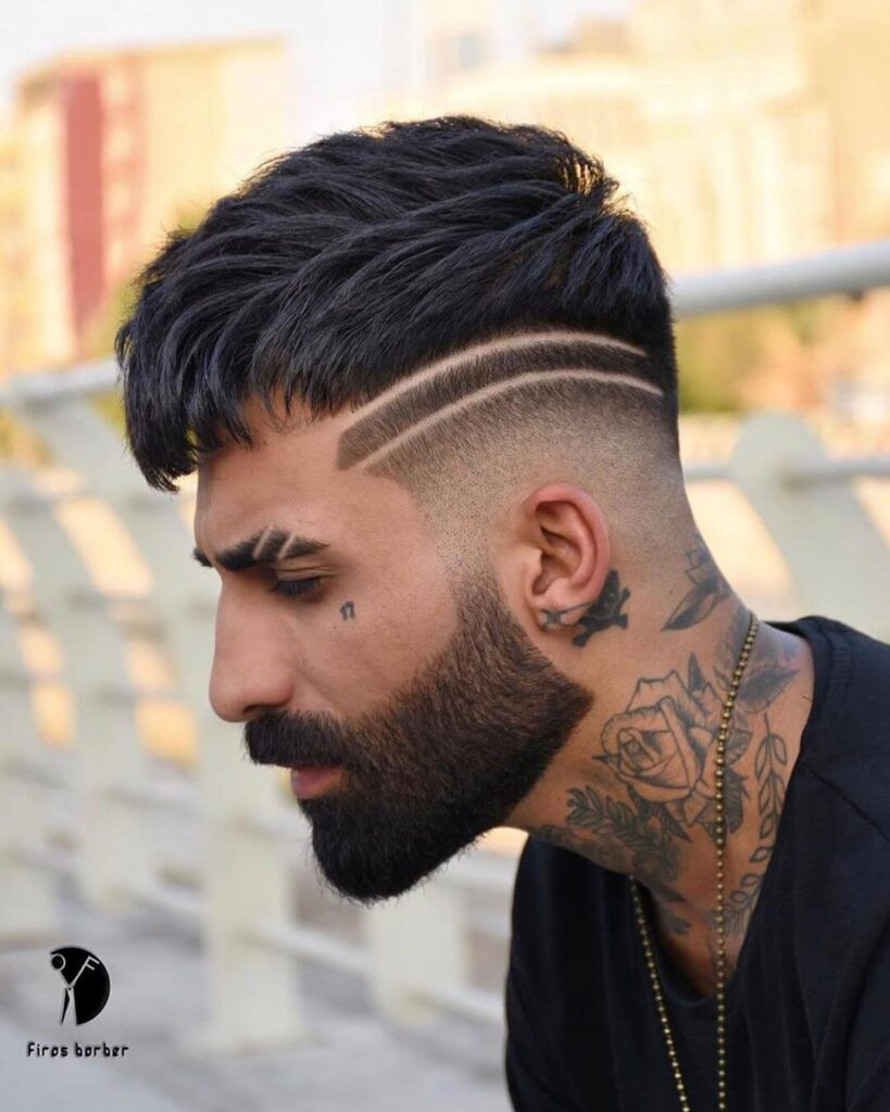 mens.hairstyles double shaved line on side part haircut bald