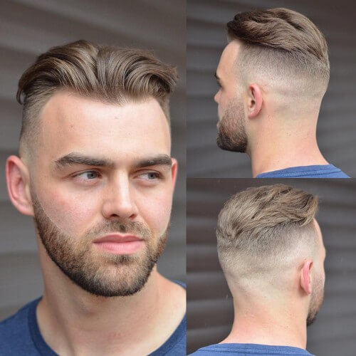 textured comb quiff with bald side part fade and back bald fade