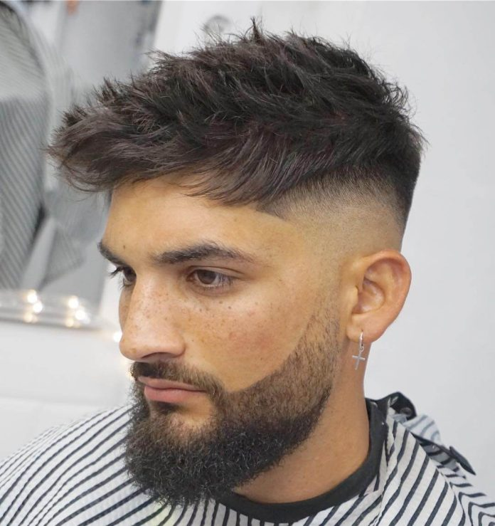 vargasbarbercutz short spiky messy hair with beard style undercut fade