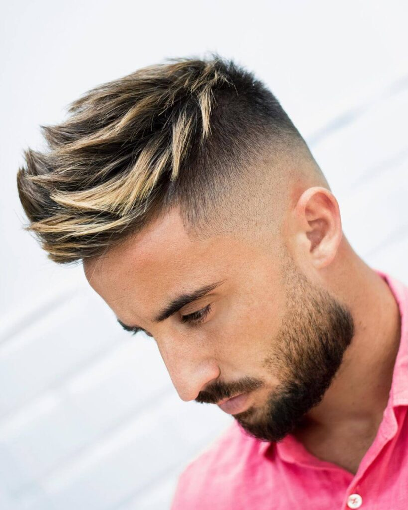 javi_thebarber_ high textured highlighted spikes fade mid skin