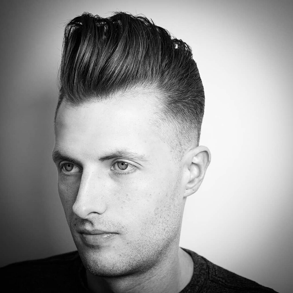 michaelmartinthebarber Brushed Up Hair long pomp side part haircut mid fade