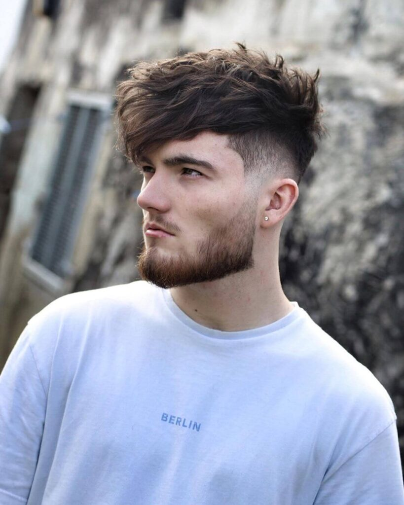 ryancullenhair long hair style messy hair with side part mid fade new