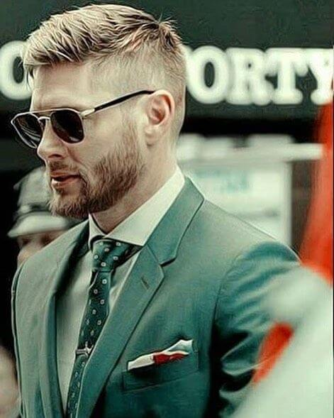 Jensen Ackles Hairstyel side part fade hairstyle