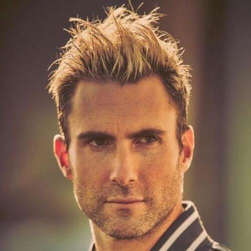 adam levine blondy messy textured layer hairstyles