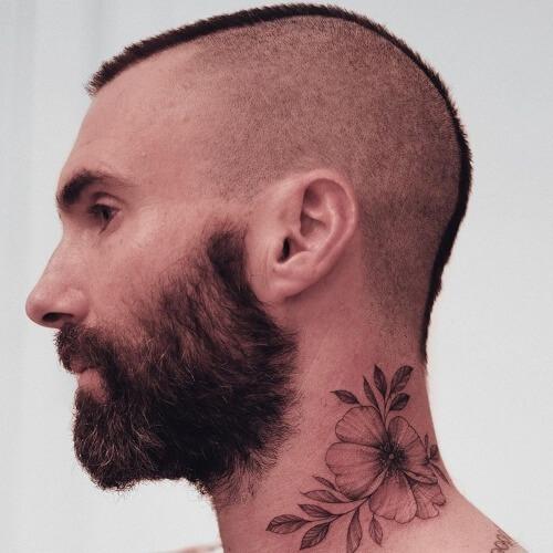 adam levine side bald fade haircut and adam levine tattoo