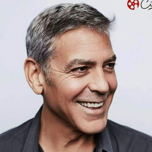 george clooney smile with short hair