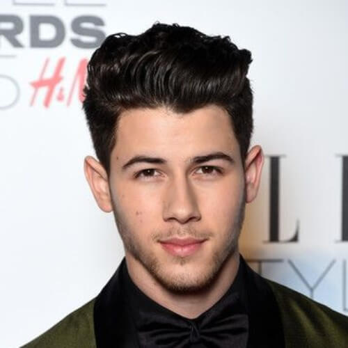 nick jonas high textured comb over fade