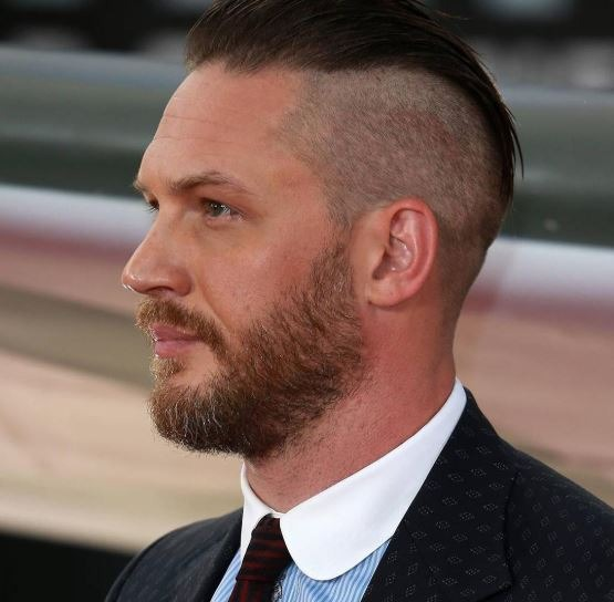 tom hardy short hair with side part bald fade taper style
